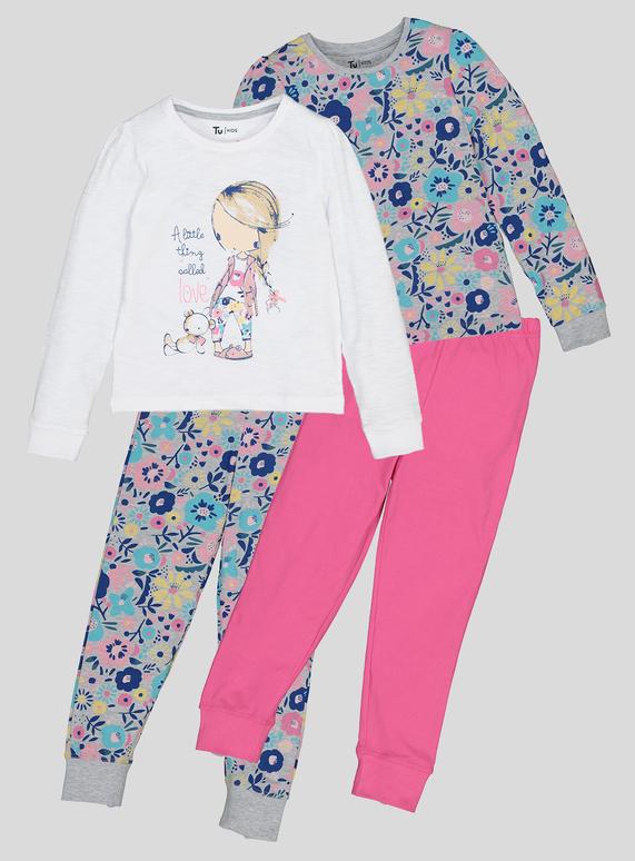 ff76081f1 Kids Multicoloured Girl And Floral Print Long Sleeve Pyjamas (1- 6 Years)    Tu clothing