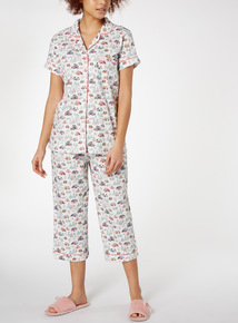 Cream Caravan Print Traditional Pyjamas