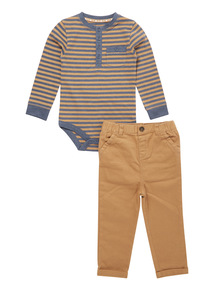 Brown Stripe Bodysuit and Trouser Set (0-24 months)