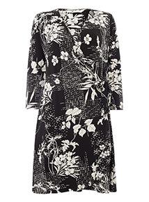 Monochrome Floral Printed Wrap Dress