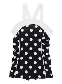 Girls Black Polka Dot 50's Swimsuit (3 - 14 years)