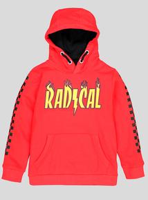 Red 'Radical' Logo Hooded Sweatshirt (3-14 years)