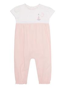 Pink Jersey Woven Romper (0 - 12 months)