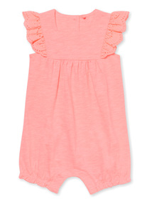 Neon Pink Embroidered Jersey Romper (0-24 months)
