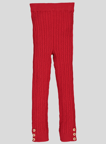 Red Cable Knit Leggings (9 months - 6 years)