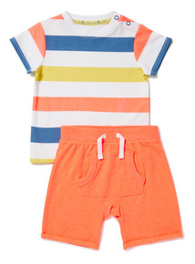 2 Piece Multicoloured Striped T-Shirt and Short Set (0-24 months)