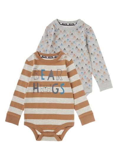 Two Pack Print Stripe Bodysuits (0-24 months)
