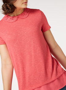 Lace Collar Knitlook Top