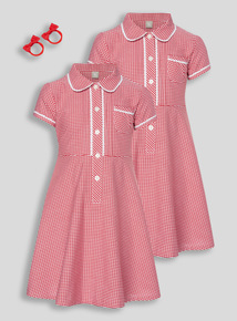 Red Classic Gingham Dress With Bobble 2 Pack (3 - 12 years)