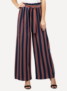 IZABEL Multi Navy Paper Bag Waist Trousers