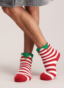 Red & White Striped Elf Slipper Socks