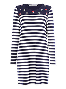Navy and White Stripe Floral Embroidered Tunic