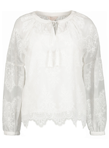Premium Cream Lace Embroidered Blouse