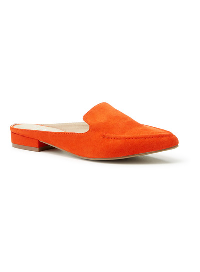 Orange Pointed Sip On Loafer Mules
