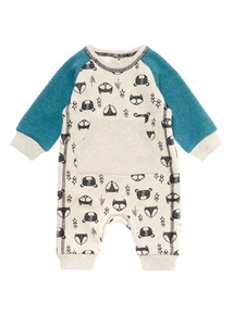 Boys Cream Fox Sweat Romper (0-24 months)