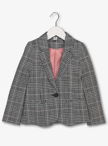 Monochrome & Pink Stripe Ponte Check Jacket (3-14 Years)