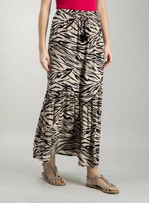 6ba835c236b Beige Zebra Print Crinkle Maxi Skirt