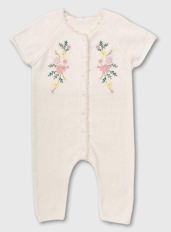 Embroidered knitted romper