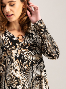 Brown Butterfly Print Tunic