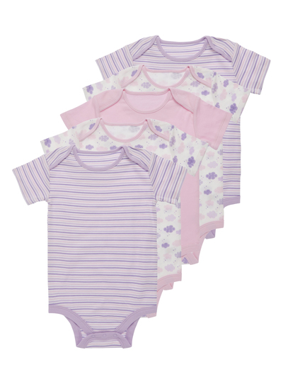 6991d0129f Baby Girls Pink Cloud Bodysuits 5 Pack