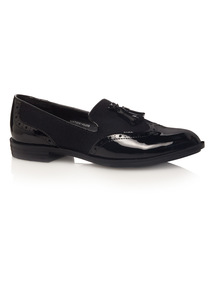 Black Slipper Cut Brogues