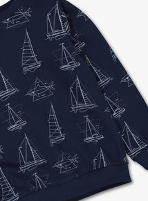 Navy Boat Print Crew Neck Sweatshirt (3-14 years)
