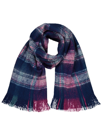 Multicoloured Check Brushed Woven Scarf