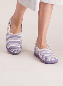 Lilac Striped Slippers