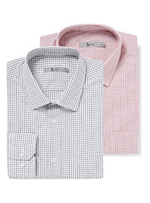 Red and Navy Grid Tailored Fit 2 Pack Shirts