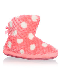 Girls Spotted Boot Slippers