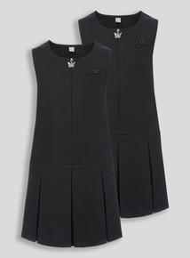 Black Zip Through Plus Fit Pinafore 2 Pack (3-12 years)