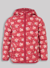 Red Floral Print Puffer Jacket (3-14 years)