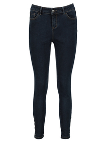 Dark Blue Denim Studded Skinny Jeans