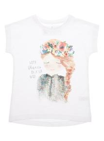 Girls White Glitter Top (3-12 years)