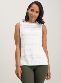 a0e055d312c Cream Lace High Neck Vest