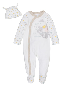 Cream Disney Dumbo Sleepsuit & Hat Set (0-24 months)