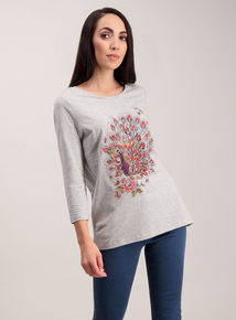 Grey Peacock Diamante Top
