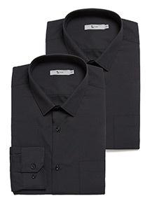 2 Pack Black Easy Iron Long Sleeve Shirts