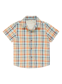 Boys Orange Checked Shirt and T-Shirt Set (9 months- 5 years)