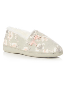 Beige Floral Slippers