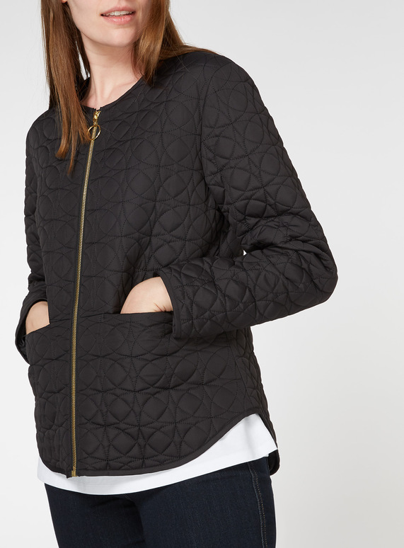 5d0e73c33dbe Womens Black Collarless Quilted Jacket