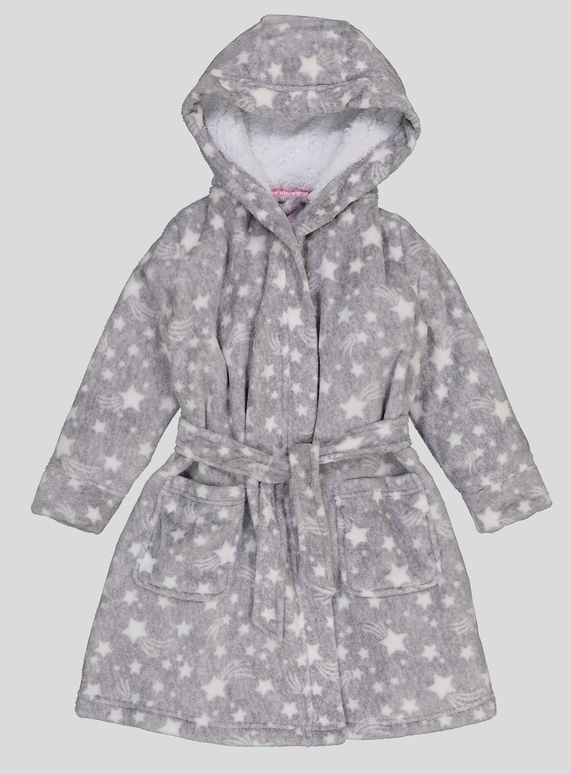 Kids Grey Star Print Dressing Gown (1-12 years) | Tu clothing