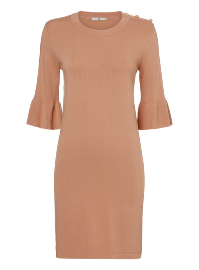 Camel Flare Sleeve Dress