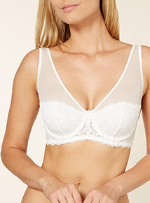 White Non-Padded Leaf Lace Plunge Bra