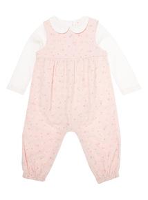 Girls Pink Dungaree Set (0 - 12 months)