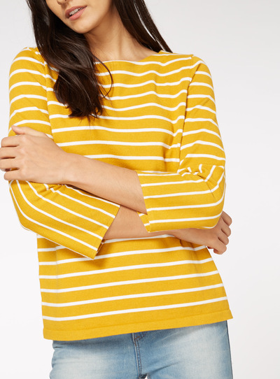 Yellow Flare Sleeve Stripe Jumper