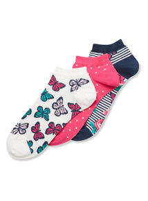 3 Pack Butterfly Trainer Socks