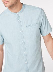 Light Denim Regular Fit Grandad Collar Shirt