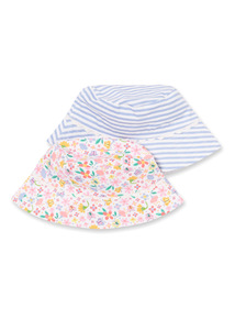 2 Pack Multicoloured Ditsy Stripe Bucket Hat (1-9 years)