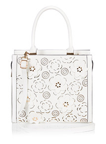 White Garden Flower Laser Cut Bag